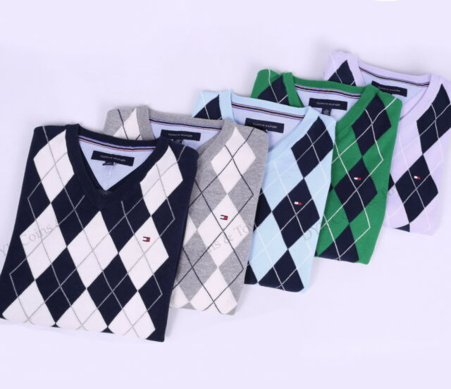 NEW TOMMY HILFIGER MEN GOLF STYLE CLASSIC ARGYLE V-NECK SWEATER - FREE SHIPPING