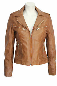 Designer cuir Women's Retro en Tan Veste Fashion Model Kelly souple Ladies TqUZOO