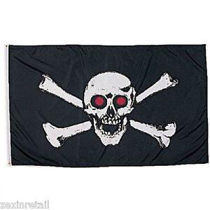 White Skull With Red Eyes Pirates Skull /& Crossbones Flag