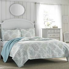 Twin Size Laura Ashley Blue/White Cotton Reversible Quilt,Bedspread Bedding Set