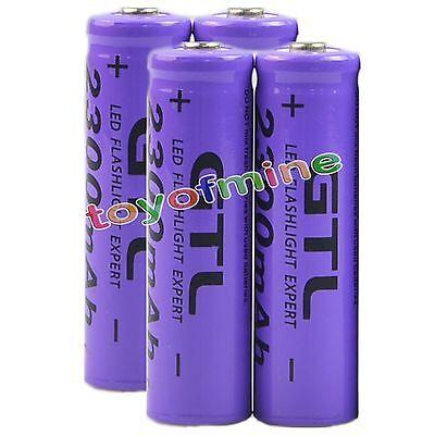 4x 3.7V 2300mAh 14500 GTL14500 AA Li-ion Rechargeable Battery Purple- LED Torch