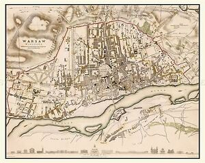 MAP-ANTIQUE-1831-CLARKE-WARSAW-CITY-PLAN-OLD-LARGE-REPLICA-POSTER-PRINT-PAM0289