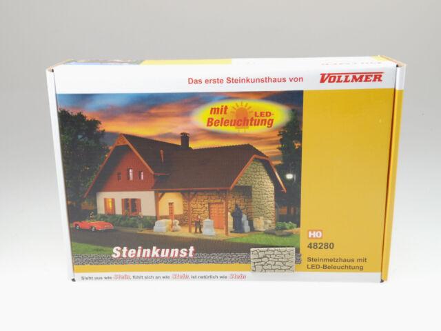 Vollmer H0 Steinmetzhaus con Iluminación LED (Art Nr.48280) Nuevo/Emb.orig