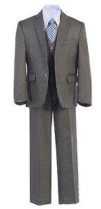 Boys Toddler Kid Teen 5-Pc Formal Medium Grey/Black Dress Suit w/ Vest Sz 2-20