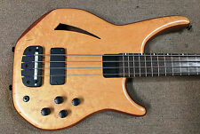 UK Status 4-String Electric Fretless Bass, Semi-Hollow, Birds Eye Maple, Piezo