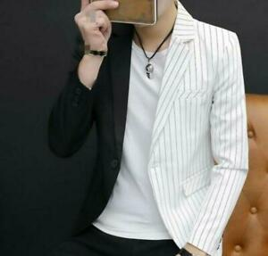 Men/'s Slim fit One button Blazers Coat Striped Lapel Jacket Formal dress Casual