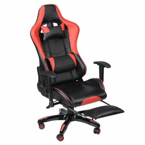 Gaming Racing Chair Office Executive Recliner Lift Adjustable Leather /& Footrest