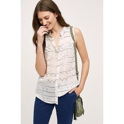 NWT Whispered Stripe Cloth & Stone Anthropologie Button Tank White Semi-Sheer