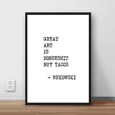 Charles Bukowski Poem quote art print wall art poster print gift literary