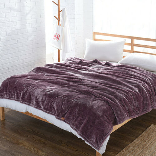 Flannel Fleece Blanket Full Queen King Size Cozy Plush Microfiber Solid Blanket