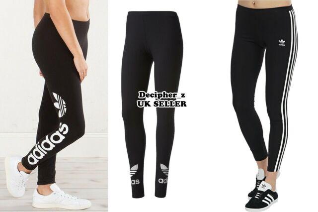 Details about Adidas Originals trefoil tape leggings black running gym sport Womens DN8406 10