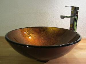 bad g ste wc waschtisch aufsatz glas waschbecken waschschale antik gold neu 42cm ebay. Black Bedroom Furniture Sets. Home Design Ideas