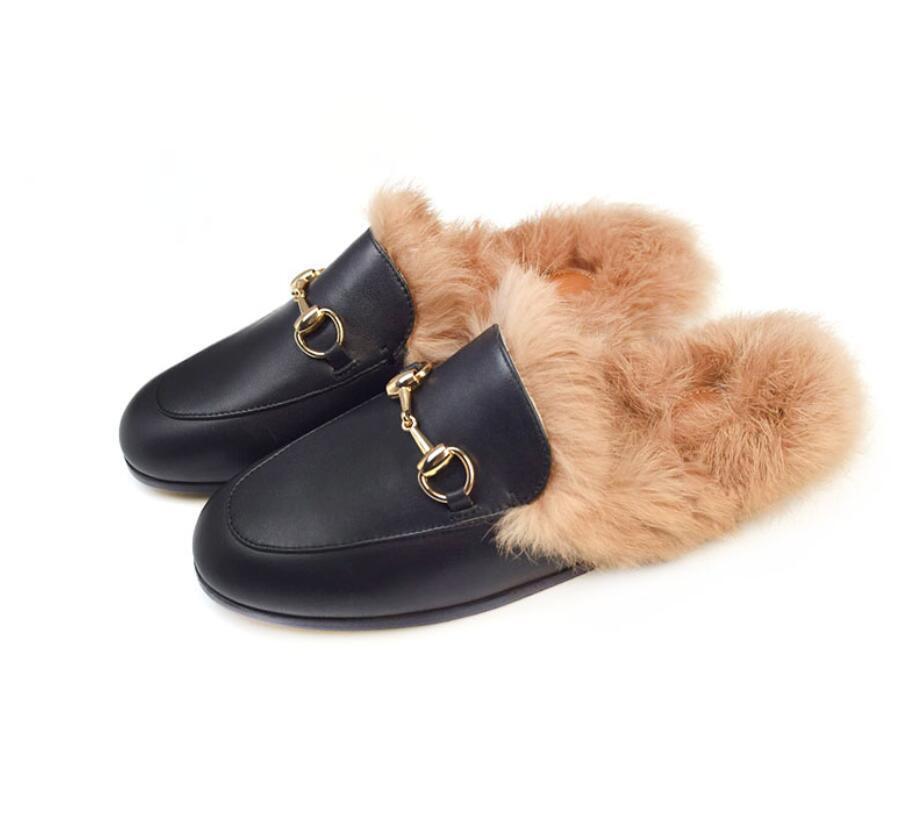 Mens Slip On Real Leather Rabbit Fur Flat  Embroidered US6-11.5 Horsebit Slipper