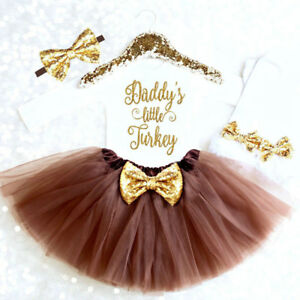 d0451dcd97cf US Baby Girls My 1st Thanksgiving Outfit Tops Romper Tutu Dress 4PCS ...