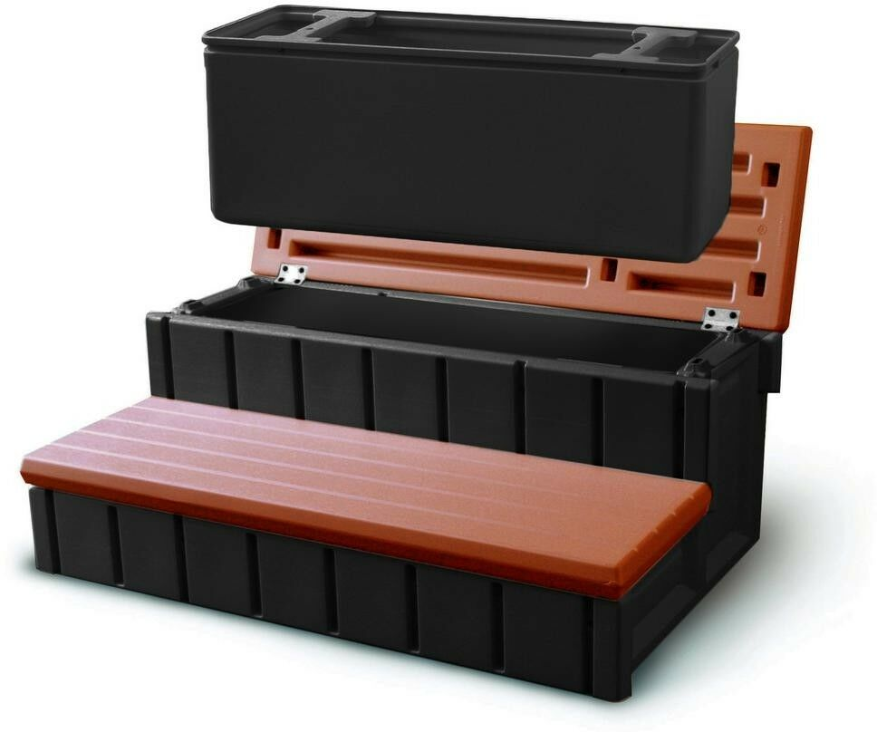 Hot Tub Pool Steps rotwood Spa Storage Outdoor Bin Removable 300 lbs. Capacity