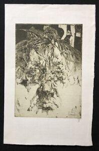 Horst-Janssen-in-sich-selbst-verliebt-Radierung-1983-handsigniert