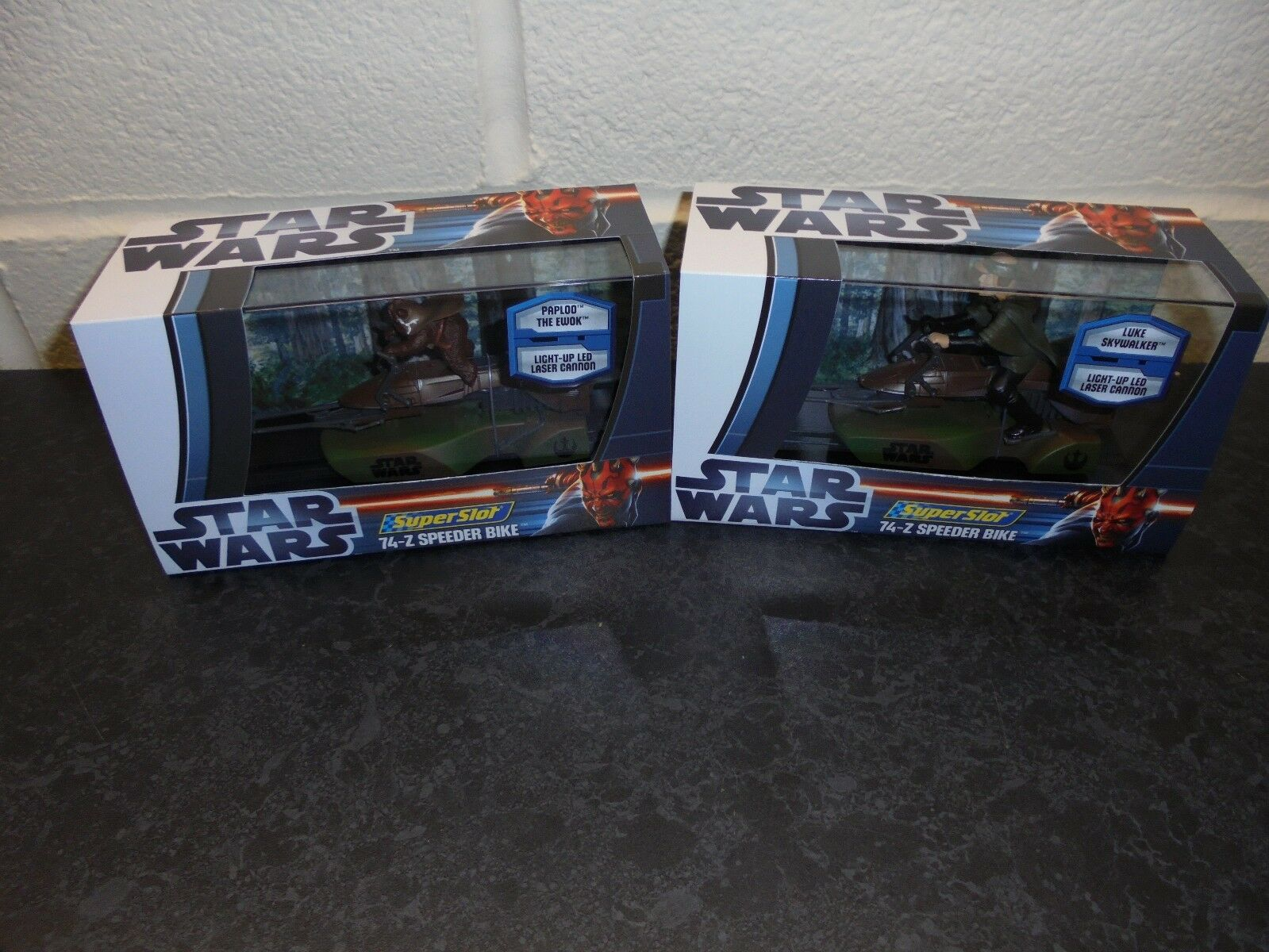SuperSlot SuperSlot SuperSlot x2 Star Wars H3298& 99  Speeder Bikes  Ewok  and Luke   m b a3e810