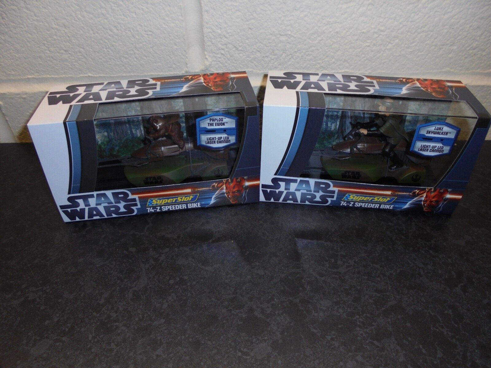 SuperSlot x2 Star Wars H3298& 99  Speeder Bikes  Ewok  and Luke   m b