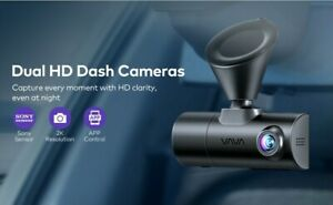 *New VAVA Dual Dash Cam 2K Front and 1080P Cabin w/ GPS, Parking + Uber & Lyft