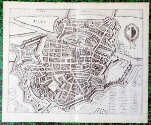 XVII-eme-Dept-57-Tres-Beau-Plan-de-Metz-39-x-32-cm-Editee-en-1635