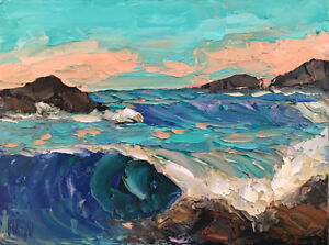 BLUE-GOLD-ONE-Original-Expression-Seascape-Waves-Oil-Painting-12x16-041418-KEN
