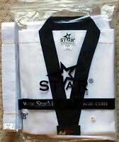 Taekwondo Uniform White With Black V-neck Dobok Black Collar All Sizes