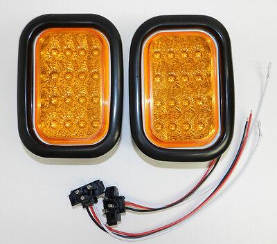 "(2) 5"" x 3"" AMBER LED Stop Turn Tail Lights Truck Trailer 16 LED Miro Flex"