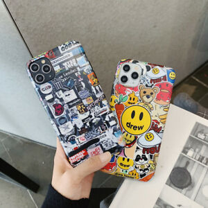 Cute-Cartoon-Lable-Drew-Couple-Fashion-Phone-Case-Cover-For-iPhone11ProMax-8Plus