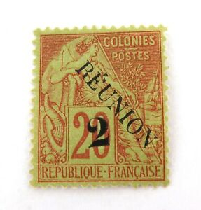 REUNION-ISLAND-c1891-22c-OVERPRINT-on-20c-MH-HIGH-GRADE-STAMP