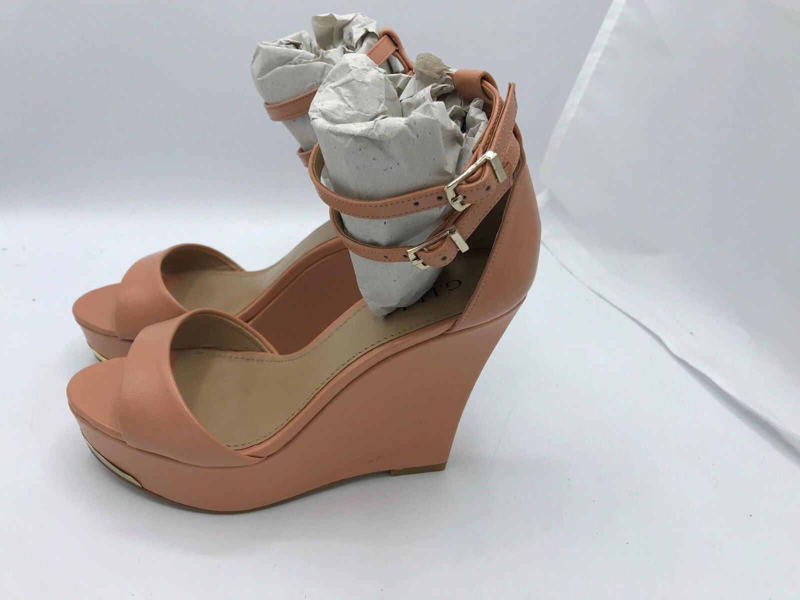 G.I.L.I. Leather Ankle-Strap Wedges-Avery (1654) Apricot Sz 5.5M
