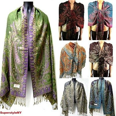 55% Pasmina & 45% Silk Paisley Leaves Pashmina Scarf Shawl Evening