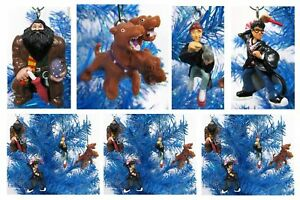HARRY-POTTER-5pc-Christmas-Tree-Ornament-Set-Harry-Ron-Hagrid-Fluffy-2-034-Tall