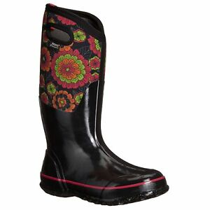 Bogs-Classic-Pansies-Black-Multi-Womens-Rubber-Insulated-Wellington-Rain-Boots