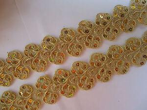 0-5m-1m-5-Meter-BUGEL-Spitze-BORTE-Nichtelastisc-Gold-4-4cm-TOP