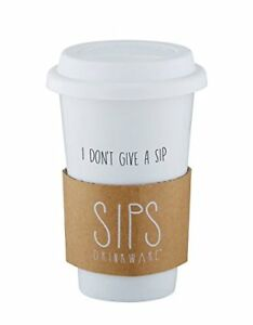 I Don't Give a Sip 16 Ounce Ceramic Dual Wall Travel Coffee Tumbler with Lid
