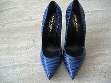 NW AUTH YSL YVES SAINT LAURENT KHAN BLK&BLUE SNAKE LETH PUMP SZ6'1/6 RET$825WOW!