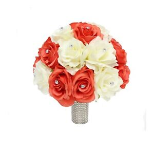 Bridal-Bouquet-10-034-Quality-Artificial-Roses-Ivory-and-Coral-Reef-Bouquet