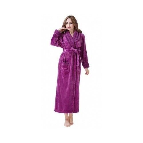 Women's Purple Fleece Bathrobe Small Plush Soft Warm Spa Robe Comfy Polyester