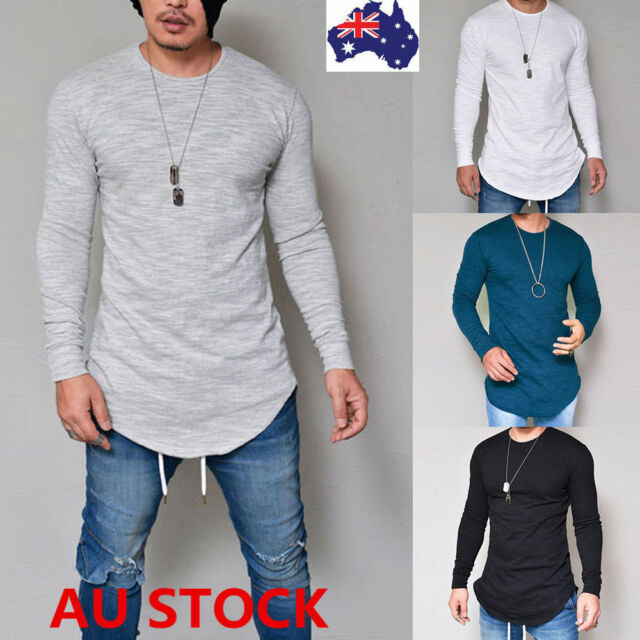 Mens Slim Fit Long Sleeve Shirt Solid T-shirt Muscle Tee Shirt Casual Top Blouse