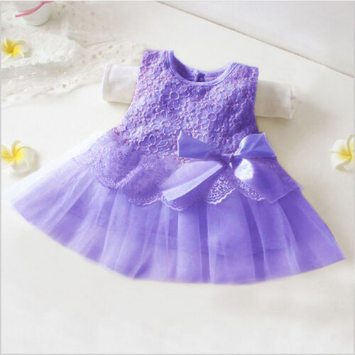 Newborn Infant Baby Flower Girls Princess Party Wedding Tutu Lace Tulle Dress
