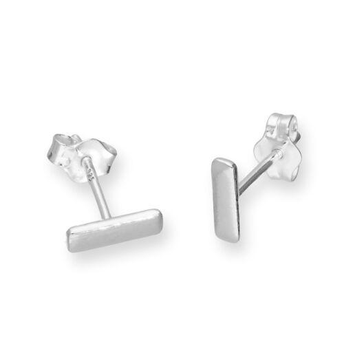Real 925 Sterling Silver Bar Stud Earrings Block Rectangle Shape Studs