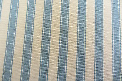 Duckegg & Cream Striped CottonTicking Curtain/Craft Fabric (by the metre)