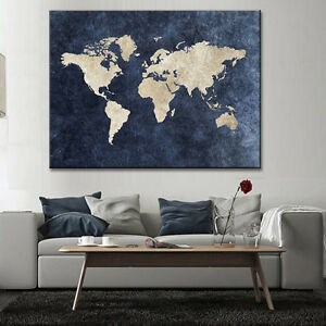 Abstract Blue World Map Canvas Print Large Modern Global Map