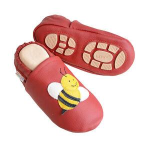 Liya's Krabbelschuhe Hausschuhe Lederpuschen Babyschuhe - #617 Biene in rot