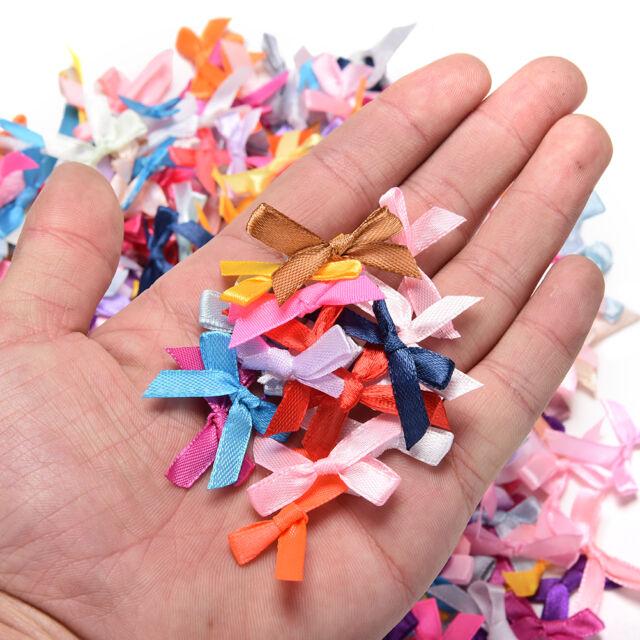 500 Pcs//lot Mini Satin Ribbon Flowers Bows Gift Craft Wedding Party Decor UWK