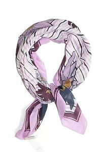 Ann-Taylor-LOFT-NWT-34-Lavender-Navy-Floral-Cotton-Silk-Square-Border-Scarf