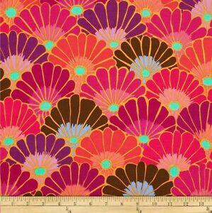 "42"" Remnant Kaffe Fassett Thousand Flowers Cotton Fabric PWGP144 Red"