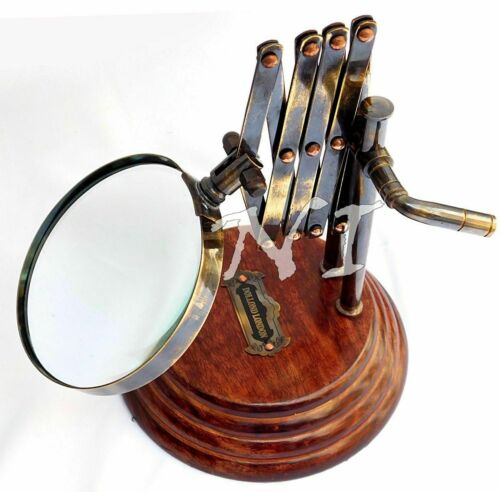 Old Desktop Channer Magnifier Brass Vintage Magnifying Glass on Wooden Stand