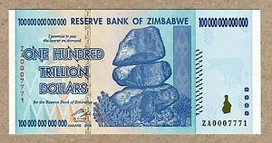 Details About Zimbabwe 100 Trillion Dollars Replacement Banknote Za 2008 P91 Unc Currency Bill