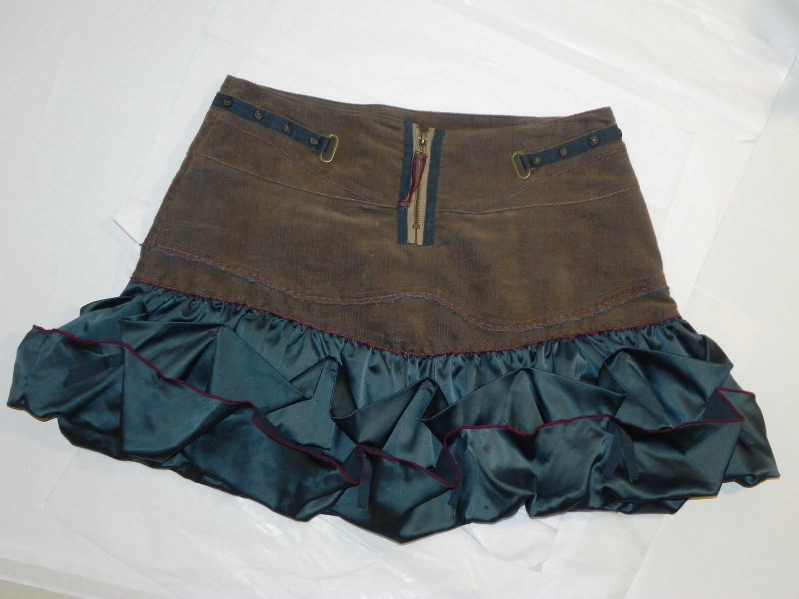 Iconoclast Skirt Poly Cotton Mix Mini Brown and bluee Size 42 Draped